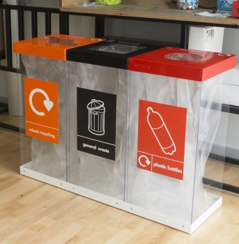 Box Cycle Triple Recycling Bin with mr gw pb